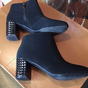 Madeline Stuart faux suede and rhinestone booties.